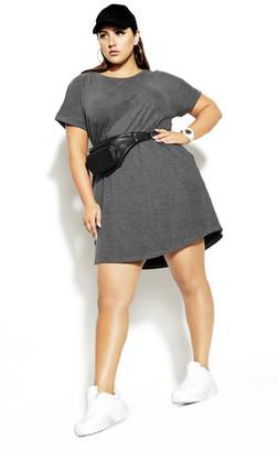 City Chic Longline Rib Dress - charcoal