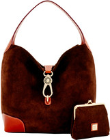 Dooney & Bourke Suede Logo Lock Shoulder Bag