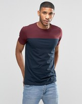Lindbergh T-Shirt With Color Block In Burgundy