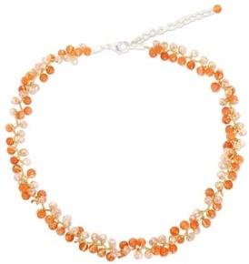 Novica Handmade Sterling Silver 'Lavish Orange Lanna' Carnelian Choker