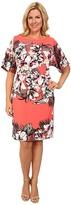 Adrianna Papell Plus Size Dolman Sleeve Placed Tropical Print Sheath Dress