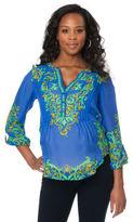 A Pea in the Pod Hale Bob Convertible Sleeve Paisley Print Maternity Shirt