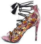 Thalia Sodi Peligro Women Open-toe Canvas Multi Color Heels.
