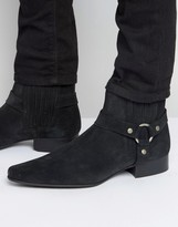 Asos Chelsea Boots In Black Suede With Pointed Toe And Metal Detail