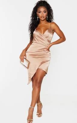 PrettyLittleThing Shape Mocha Satin Wrap Dress