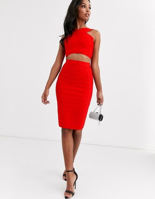 Band Of Stars bandage pencil midi skirt in red