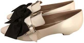 Miu Miu White Leather Flats