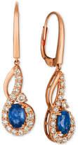 Macy's Le Vian Strawberry & NudeTM Blueberry Sapphire (1-1/10 ct. t.w.) & Diamond (5/8 ct. t.w.) Drop Earrings in 14k Rose Gold