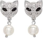 Miu Miu Silver Cat Crystal Earrings
