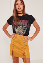 Missguided Yellow Faux Suede Eyelet Lace Up Mini Skirt