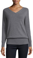 Neiman Marcus Long-Sleeve V-Neck Relaxed-Fit Cashmere Sweater, Plus Size