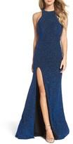 La Femme Women's Cutout Metallic Jersey Gown