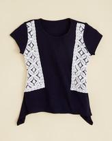 Aqua Girls' Crochet Side Sharkbite Tee - Sizes S-XL