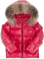 Moncler Fur-Trimmed Down Parka-PINK