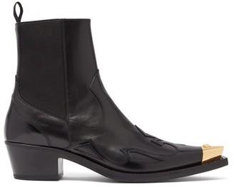 Versace Medusa-toe Cuban-heel Leather Boots - Mens - Black Gold