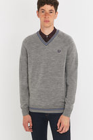 Fred Perry Twin Tipped Steel Merino V-neck Jumper