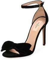 Valentino Velvet Bow Sandal, Black