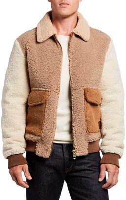 Scotch & Soda Men's Colorblock Sherpa Bomber Jacket