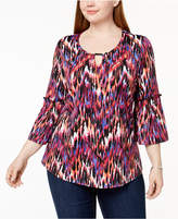 NY Collection Plus Size Bell-Sleeve Keyhole Blouse