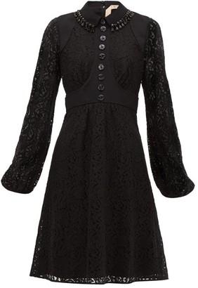 No.21 No. 21 - Crystal-embellished Cotton-blend Lace Dress - Black Navy