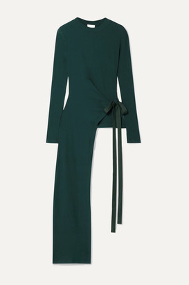 Rosetta Getty Draped Asymmetric Stretch-cotton Jersey Wrap Top - Forest green