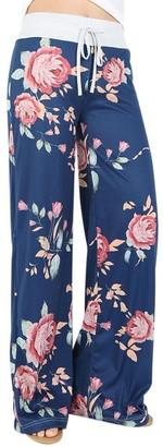 SHOBDW Womens Trousers Women Floral Prints Drawstring Wide Leg Pants Leggings (L
