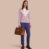 Burberry Unisex Breton Stripe Cotton Top with Lace Appliqué