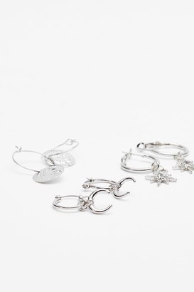 Nasty Gal Womens Moon and the Stars 3-Pc Drop Hoop - Silver