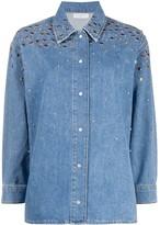 Sandro Paris long sleeve stud-embellished denim shirt
