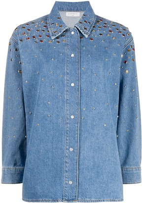 Sandro Paris Long Sleeve Stud-Embellished Denim Shirt