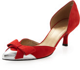 Stuart Weitzman Charming Suede Bow-Toe d'Orsay