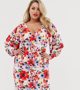 ASOS DESIGN Curve puff sleeve tea dress in floral print