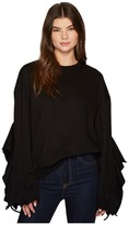 J.o.a. Ruffle Sleeve Knit Top Women's Long Sleeve Pullover