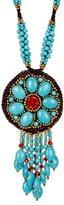 Natasha Accessories Beaded Fringed Pendant Necklace