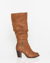 Le Château Faux Leather Almond Toe Knee-High Boot