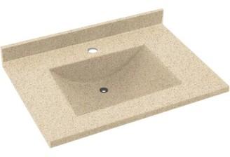 "Swan Contour Solid Surface 37"" Single Bathroom Vanity Top Top Finish: Bermuda Sand"