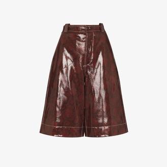 Ganni Python Print Patent Leather Shorts