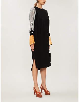 MAME KUROGOUCHI Contrast-sleeves woven midi dress
