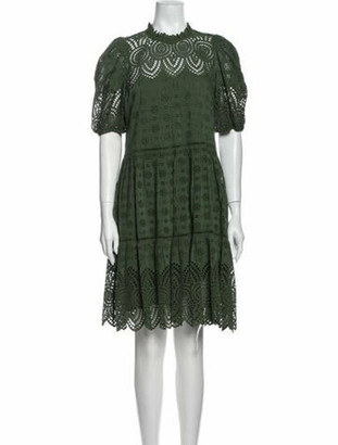 Ulla Johnson Lace Pattern Knee-Length Dress Green