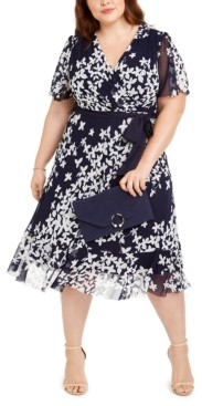 Jessica Howard Plus Size Belted Printed Midi Dress
