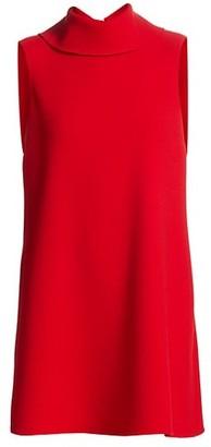 Oscar de la Renta Sleeveless Turtleneck Wool-Blend Shift Dress