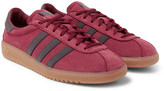 adidas Bermuda Faux Leather-trimmed Suede Sneakers - Burgundy