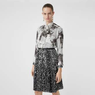 Burberry Angel Print Silk Chiffon Pussy-bow Blouse