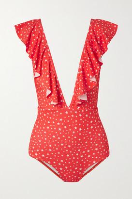 VERDELIMON Waco Ruffled Printed Swimsuit