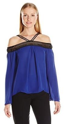 Nicole Miller Women's Solid Silk GGT V Trim Long Sleeve Top
