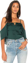 1 STATE Cold Shoulder Blouse With Layered Ruffles in Green. - size L (also in M,S,XS)