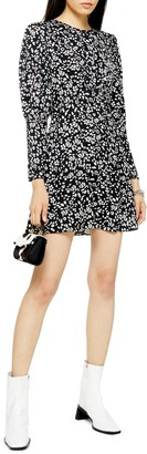 Topshop Austin Long Sleeve Open Back Floral Minidress
