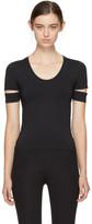 Helmut Lang Black Slit Cap Sleeve T-Shirt