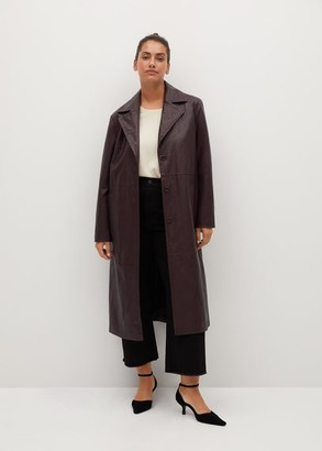 MANGO Faux-leather trench