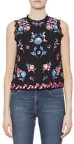 French Connection Edith Floral Sleeveless Top, Black/Multi